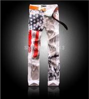 2014 New Fashion Print Men Slim Jeans Star stripe Flag Drawing Man Jean Cool Young Man Clothing Plus Size