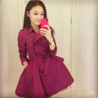 - 2014 Hot  Autumn Women Korean Slim thin mid-long coat Korean casual outwear trench Female overcoat outwear