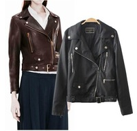 2014 Autumn  new European style PU leather zipper jacket women leather Short motorcycle jackets Overcoat Outwear
