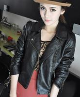 women PU leather VEST Slim oblique zipper vest PU clothing coat women's outerwear
