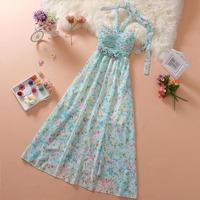 2014 summer halter-neck beach print chiffon full long dress + free shipping