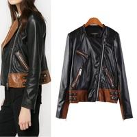 Women Winter Motorcycle PU Leather Jacket Coat S-M- L Size Short  Zipper outerwear coats 2014 New ow625