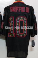 #10 Robert Griffin III Lights Out Black Jersey Men's Washington Authentic Football Jersey 10 Griffin III Elite Football Jersey