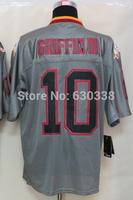 #10 Robert Griffin III Lights Out Grey Jersey Men's Washington Authentic Football Jersey 10 Griffin III Elite Football Jersey