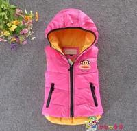 2014 Winter  Girls' Hooded Vest  Children down jacket  Cartoon Warm coat  Free shipping  Retail