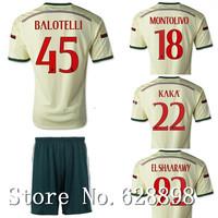 High quality 14 15 AC Milan Away Gold Soccer shirt+short kits,2015 AC Soccer jersey Football uniform EL SHAARAWY KAKA BALOTELLI
