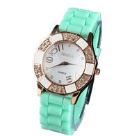2014 New Fashion Brand Geneva Rhinestone Watches For Women Ladies Casual Relogio Feminino Silicone Quartz Original Wristwatches