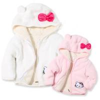 2014 Winter Baby girl Cartoon Jacket Cute KT cat  Plush hooded jacket  Baby warm Tops Retail  Free shipping