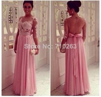 A Line Long Sleeves Long Pink Chiffon Prom Dresses 2014 Sheer See Through Mesh Back Lace Appliques Formal Evening Party Gown