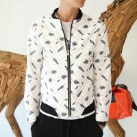 2014 Rushed Limited Freeshipping Conventional Jersey Zipper Short Print Jaqueta Masculina Casaco Coats & Jackets Jacket H855