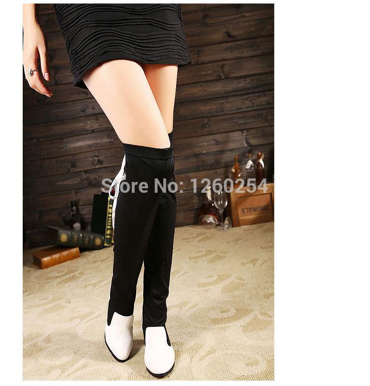 2014 nova 7 cm plataforma de salto alto grosso mulheres cor misturada rendas motocicleta Overknee botas preto brancas sapatos dedo apontado(China (Mainland))