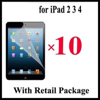 2014 Sale Real for Apple for Iphone free Shipping 10pcs/lot Screen Protector Film Cover for Ipad 2 3 4 5 with Retail Package