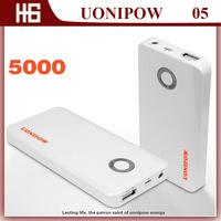 2014 New UONIPOW UP05  External Double 2 USB Port Power Bank 5000mAH ,Solar Energy Power Supply USB Battery Charger Box External