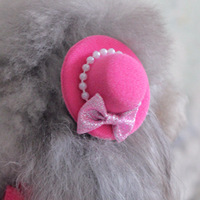 4pcs/lot Pink/Rose Hat Hairpin Pearl Hair Bows For Dogs And Pet Puppy Y045  Chihuahua Poodle Cat Animals Grooming Accessories