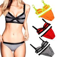 Brand New Women's Swimwear Sexy Bikini Bandage Style Swimsuit Beachwear Strap Padded Bra Set Patchwork Bathing Suits