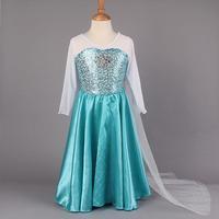Free shipping ! New 2014 girl summer dress Girl's Frozen Elsa Inspired Costume Dress Cosplay Dresses Kid's Clothes