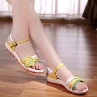 2014 female sandals flat heel flat shoes platform genuine leather bohemia maternity plus size shoes