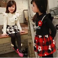 Retail-2014 autumn baby girls dress floral plaid casual kids clothes cotton kids dress  vestidos de menina good quality