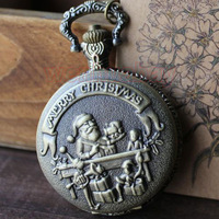 Merry Christmas Santa Claus Children Xmas Gift Necklace Pocket Watch P39