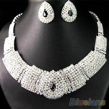 Свадьба ну вечеринку свадебные черный стразами кристалл ожерелье серьги пром 04JC