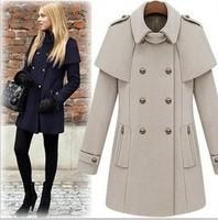 Fashion Woolen Double Breasted Jackets Women cloak ladies brand winter Long overcoat warm casual Slim outwear female(00023)