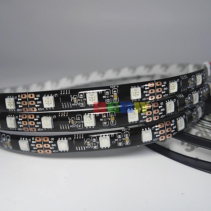 5m WS2811 48LEDs/M Black PCB Waterproof IP65 240LEDs 5050RGB SMD Pixels Digital Dream Color Flexible LED Strip Light DC12V(China (Mainland))