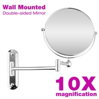 10X Magnification 8inch Double Sided Compact Cosmetic Makeup Mirror Chrome Wall Mounted Espelho De Maquiagem Free Shipping