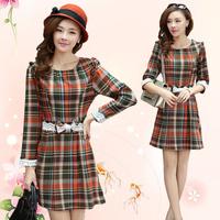2014 Winter And Autumn Dress Cotton Women Lace Stitching Colored Plaid Casual Dresses Women DJ-10