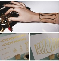 2pcs=1set 24k gold tattoo stickers Jewelry accessories for women arm hand body art warterproof Temporary glitter tattoo sticker