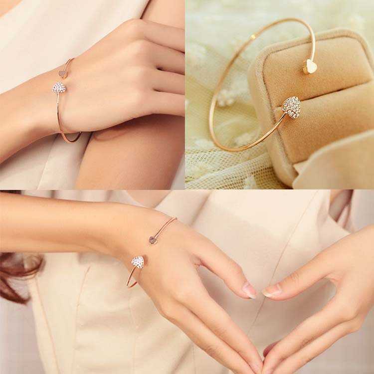 Women Girls Trendy Simple Gold Plated Wire Bangle With Double Crystal Decorated Peach Hearts New Fashion Jewelry BL-0074(China (Mainland))