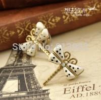 New Fashion Hot Selling Retro white glaze dream drill Unique temperament dragonfly stud earrings 4pcs/lot