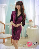 L7055 2014 Hot Long Robe Sexy Sleepwear Long Sleeve Silk Nightgown Purple Night Dress For Woman