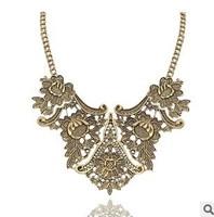 2014 fashion bijoux for women vintage tibetan silver tribal india cameo flower bib collar choker statement necklace wholesale