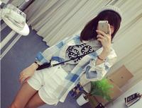 Women Fashion Turn-down Collar Full Sleeve Plaids Pattern Shirt Free Shipping A526-2-539