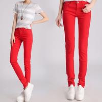 Woman Winter Fleece Thick Pencil Pants Candy Color Women Velvet Cotton Jeans Pants  Denim Trousers Free Shipping W361