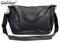 2014 hot sale PU leather students' shoulder bag High quality black men's crossbody bag handbag Messenger bag  free shipping