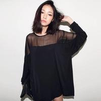 Fat MM Korean women summer fashion loose gauze shirt oversized milk silk long-sleeved T-shirt wholesale bat
