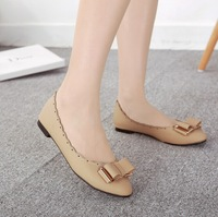 Europe and America 2014 PU embossed elegant lady lace bow flat shoes leather shoes pointed flat shoes singles for women