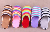 2014 hot The rainbow stripe soft bottom Winter home slippers Warm Slipper Indoor slipper Free Shipping  Home furnishing slippers