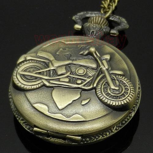 Bronze Motorcycle Motorbike MOTO Pocket Watch Necklace Pendant Mens Gift P79(China (Mainland))