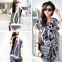 2014 New Arrival Special Offer Cotton Women Fat Mm Summer Radiating Pattern Bat Sleeve T-shirt Shirt Blouse Skirt Wholesale