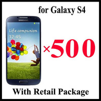 2014 Top Fashion free Shipping 500pcs/lot By Dhl Screen Protector Film Cover for Samsung Galaxy S4 I9500 with Retail Package