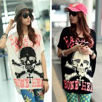 Korean Women 2014 Summer new fat mm large size skull print short-sleeved T-shirt wholesale blouses