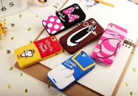 3pcs/lot,For iphone 5 5s case 2014 3D Minnie duck Alice Cat Chip shadow II Soft Silicon Rubber cell phone cases covers