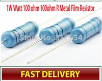 CSCASES  1W Watt 100 ohm 100ohm R Metal Film Resistor 1W 1% 100PCS,Free shipping Factory directly