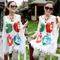 2014 summer new women's large size fat MM mounted tassel strapless apple bat shirt loose short-sleeved t-shirt wholesale