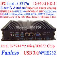 I3 mini pc with two Intel 82574L Nics HM77 chip 4 USB 3.0 4 COM 1G RAM 40G HDD WIN7 WIN8 LINUX free drive NAS Free 7*24 hours