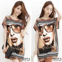 Summer new Korean yards T shirt round neck sweater bat glasses beautiful patterns in long shirt Women wholesale
