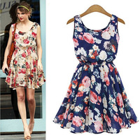 2014 New Fashion Summer Women's Sleeveless Flowers Printed Sexy dress Floral Cute Sweet Sleeveless Dress For Women Free Shipping
