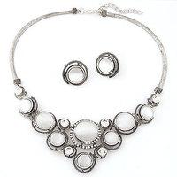 New Fashion design Vintage rhinestone gem opal necklace earrings sets Women wedding set jewelry 2014 free shipping
